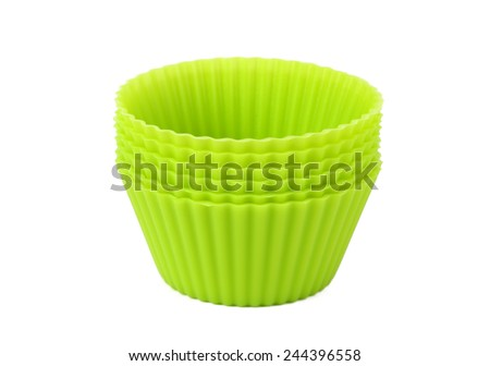 The muffin cups on white background - stock photo