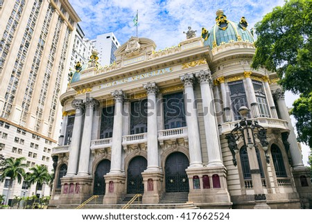The Municipal Theatre, built in an Art Nouveau style inspired by the Paris Opera, was completed in 1909 in downtown Rio de Janeiro, Brazil - stock photo