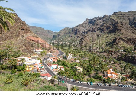 The municipality El Guro/Casa de la Seda in the Valle Gran Rey on La Gomera. Casa de la Seda is a small village in the valley. El Guro is home of lots of artists who spend their life on the island