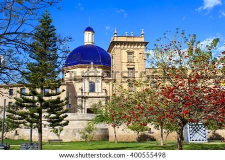 The Museum of fine arts in Turia garden, Valencia, Spain.  - stock photo