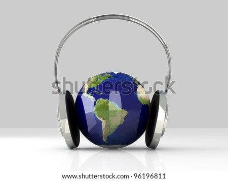The music of America. Headphones and a world globe. 3D rendered Illustration.