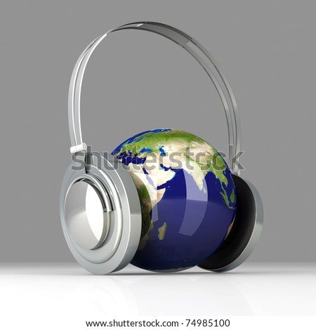 The music of Asia. Headphones and a world globe. 3D rendered Illustration. - stock photo