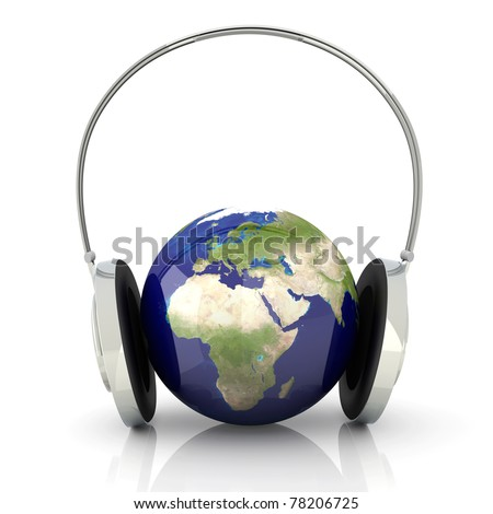 The music of Europe. Headphones and a world globe. 3D rendered Illustration.