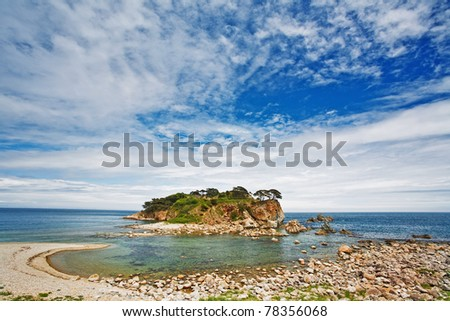 The mysterious island in the blue sea