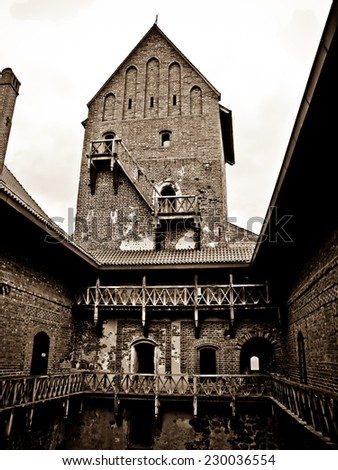The mysterious medieval castle. - stock photo