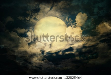 the mystery half moon at the dark sky - stock photo