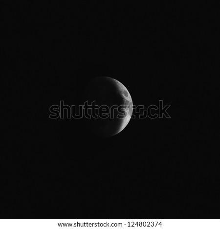 the mystery quarter moon at the night sky - stock photo