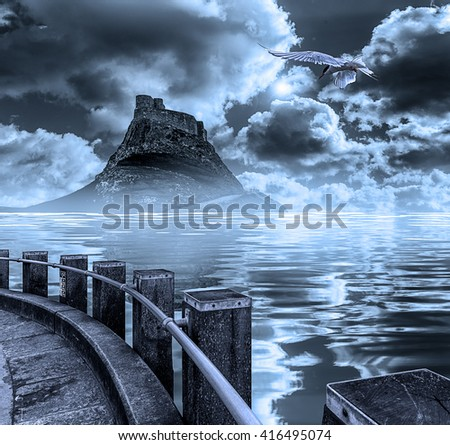 The mystical castle island on the lake at moonlight - stock photo