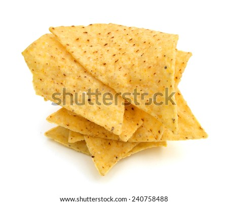 the nachos chips on white background  - stock photo