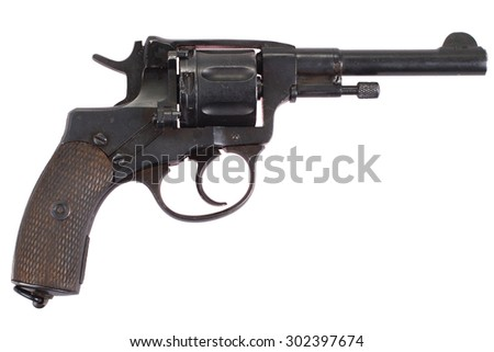 The Nagant M1895 Revolver  isolated on a white background - stock photo