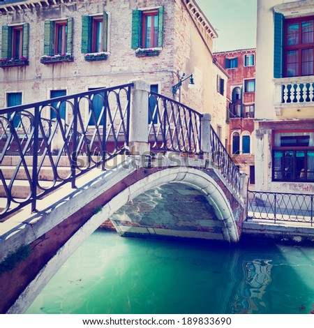The Narrow Canal in Venice, Instagram Effect - stock photo