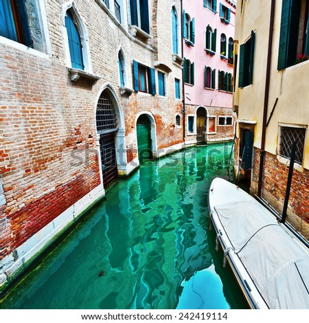The Narrow Canal - the Street in Venice, Instagram Effect - stock photo