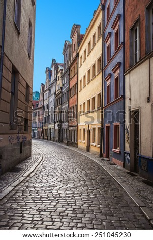 The narrow streets of Old Town Wroclaw, Silesia, Poland. - stock photo