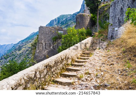 The narrow winding staircase goes to the fortress of St John, Kotor, Montenegro.
