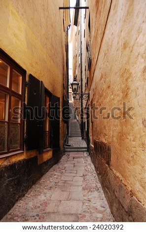 The narrowest alley in the old town of Stockholm