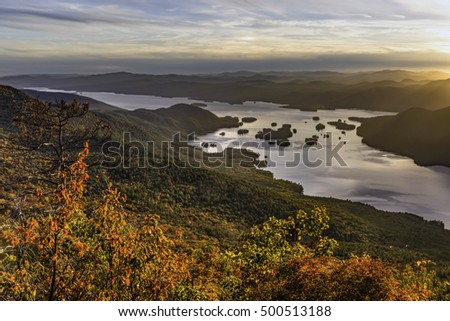 The Narrows of Lake George and surrounding mountains seen from  Black Mountain in the Adirondack Mountains of New York