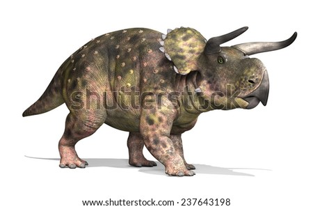 The Nasutoceratops was a dinosaur that lived during the Cretaceous period - 3d render. - stock photo