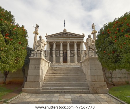 The National Academy, with Apollo, Athena, Plato and Socrates statues, Athens Greece - stock photo