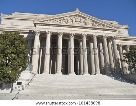 The National Archives Building in Washington DC. - stock photo
