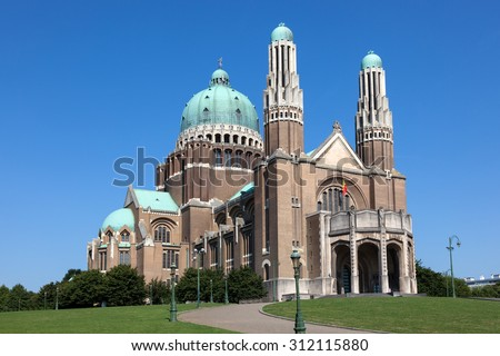 The National Basilica of the Sacred Heart in Brussels, Belgium - stock photo