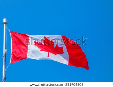 The national Canadian flag of Canada CA