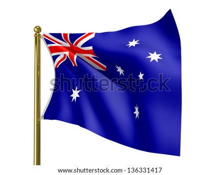 The national flag of Australia,   isolated on a white background. Clipping path supplied with file.