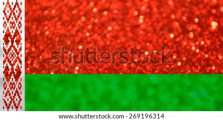 The National flag of Belarus made of bright and abstract blurred backgrounds with shimmering glitter - stock photo