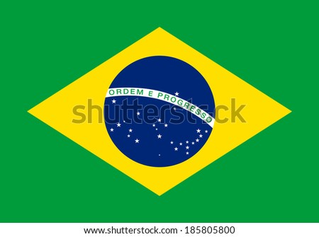 The National flag of Brazil, officially the Federative Republic of Brazil, this is an Authentic version to scale (7:10) and color Green = Hexadecimal #00A859 Yellow = FFCC29 Blue = 3E4095 - stock photo