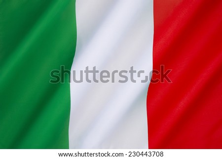 The national flag of Italy -  The current flag has been in use since 19th June 1946 and was formally adopted on 1st January 1948. - stock photo