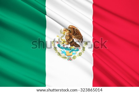The national flag of Mexico, was adopted in 1968, although the overall design has been used since 1821, when the First National Flag was created. - stock photo
