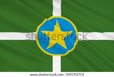 The national flag of of Jackson - capital and largest city in the state of Mississippi in the southern US - stock photo