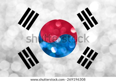 The National flag of South Korea made of bright and abstract blurred backgrounds with shimmering glitter - stock photo