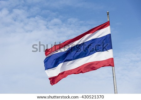 The national flag of Thailand with the cloud sky.