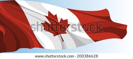 The national flag of the Canada on a background of blue sky - stock photo