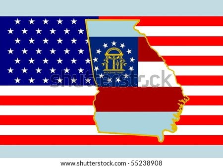 The national flag of the United States and symbolism of each of the states.
