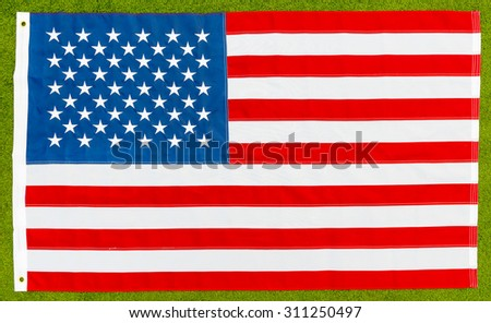 the national flag of the United States lying on the lawn