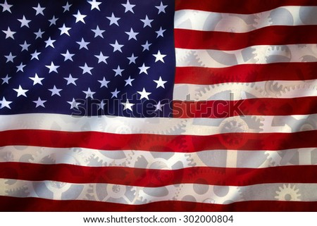 The national flag of the United States of America - American Industry - Grunge - stock photo
