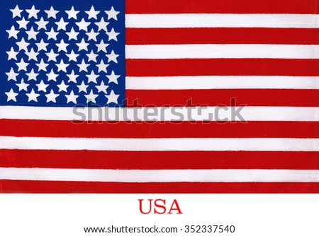 The national flag of the United States of America. The 50 stars represent the 50 states and the 13 stripes represent the thirteen British colonies that declared independence from Great Britain.  - stock photo