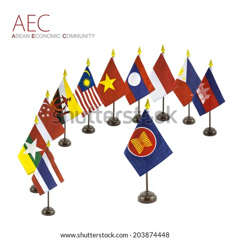 The national flags for the AEC countries surround the AEC flag - stock photo
