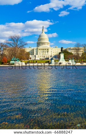 The National Mall : The Capitol and the Lincoln Memorial - stock photo