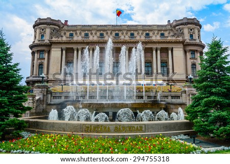 The National Military Palace (Cercul Militar National) In Downtown Bucharest On Victory Avenue was built in 1912 by architect Dimitrie Maimarolu in French neoclassic style. - stock photo
