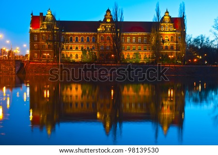 The National Museum in Wroclaw in evening - stock photo