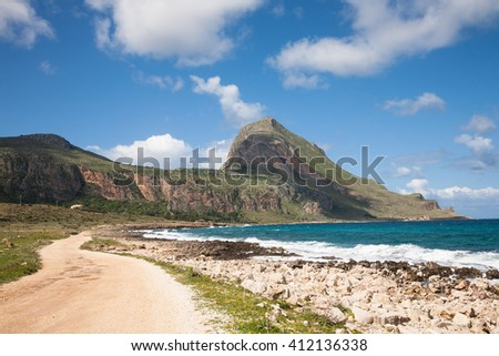 The national nature reserve of Monte Cofano in the Trapani province of Sicily in Italy - stock photo
