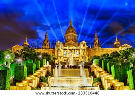 The National Palace in  Barcelona.Spain. - stock photo