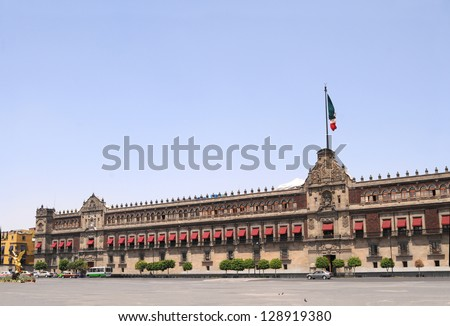 The National Palace (Palacio Nacional in Spanish) is the seat of the federal executive in Mexico City. It is located on the main square, Plaza de la Constituci�³n (El Z�³calo), in the historic downtown.