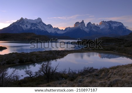 The National Park Torres del Paine with Lake Pehoe and Horns of Paine, Patagonia, Chile,