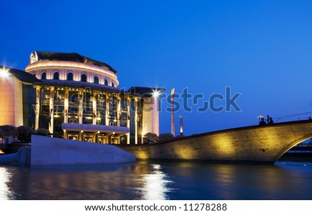 The National theater and the Theater park at dusk, Budapest