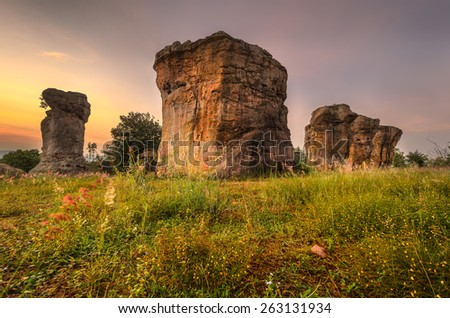 "The Nature-Built ""Mor Hin Khao"" or Stonehenge of Thailand. Consist of gigantic rock columns, white sand  stone, siltstone, mud stone and purple sandstone,assumed to be over a hundred million years old - stock photo"