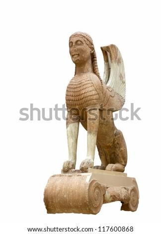 The Naxos (Naxian) Sphinx on an Ionic column (560 B.C.), Delphi, Greece - stock photo