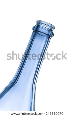 The neck of an empty bottle at an angle - stock photo